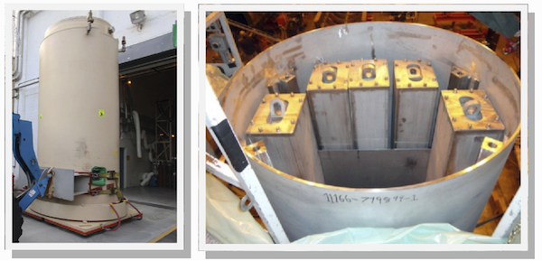Photos of Holtec Newly Deployed Technologies: STC (left) and HI-SAFE during Fit-Up Testing at HMD (right)