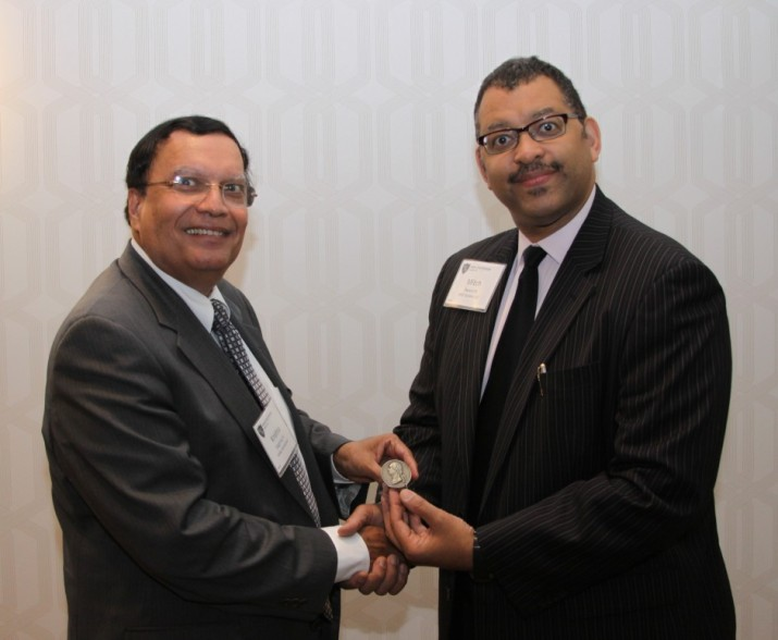 Mr. Mitch Swann, President of the Engineers' Club of Philadelphia, presents the George Washington Medal to Dr. K.P. Singh