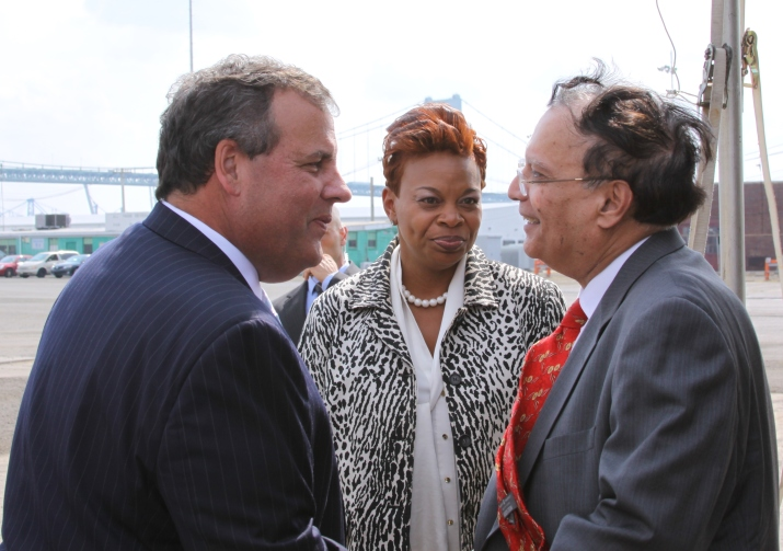 NJ Governor Chris Christie, Camden Mayor Dana Redd, and Holtec President and CEO, Dr. Krishna Singh