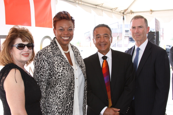 From Left to Right: Mrs. Martha Singh (Holtec), Camden Mayor Ms. Dana Redd, Mr. Pierre Oneid (Holtec), and Mr. William Levis (PSE&G)