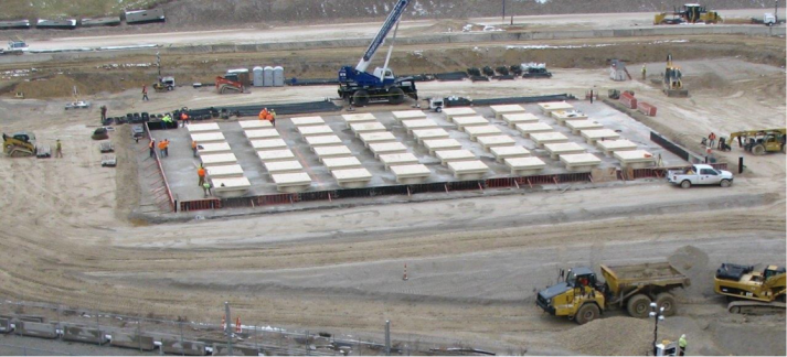 Aerial view of the form work for the top pad of the HI-STORM UMAX at Ameren's Callaway