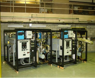Two Forced Helium Dehydrator (FHD) systems side by side at Holtec's Fabrication Facility in Pittsburgh, Pennsylvania