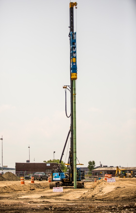 The first of 4,000 large concrete-filled steel piles to form the support foundation for the new Holtec Technology Campus