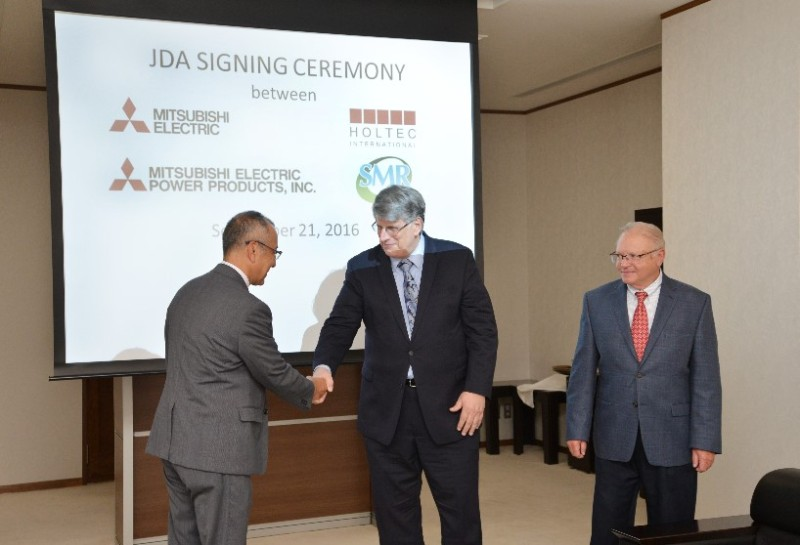 Attending the Signing Ceremony are (Left to Right): Mr. Koichi Orito, MELCO Group Senior VP of Energy and Industrial Systems; Dr. William Woodward, Holtec Senior VP of International Projects; and Mr. Gilbert Remley, MEPPI Nuclear Systems Department Manager
