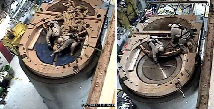 Photo Left: Boilermakers, Casey Pope and Anthony Lambert of TVA, Removing Lifting Cleats from the Loaded HI-STORM FW Dry Storage Cask Photo Right: Installation of threaded plugs into Bolt Holes
