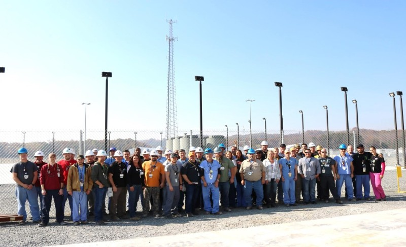 A large, integrated team from across the site worked together to safely complete the first Watts Bar used fuel storage campaign during the past several weeks. The team, which included Watts Bar employees, Holtec and D&Z team members, and support from Sequoyah and Browns Ferry, loaded 222 used fuel assemblies into six massive storage cask (shown behind the team) below the overall project dose goal.